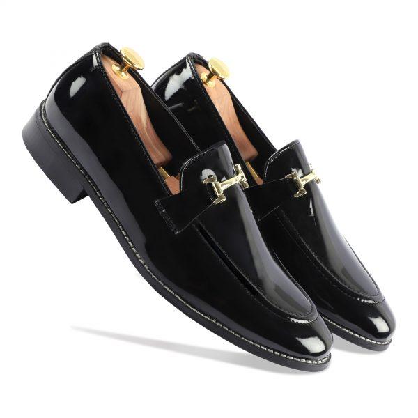 Black glossy loafer shoes for men