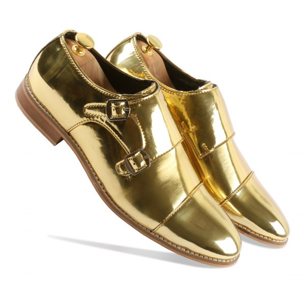 Golden Monk Strap Shoes For Men