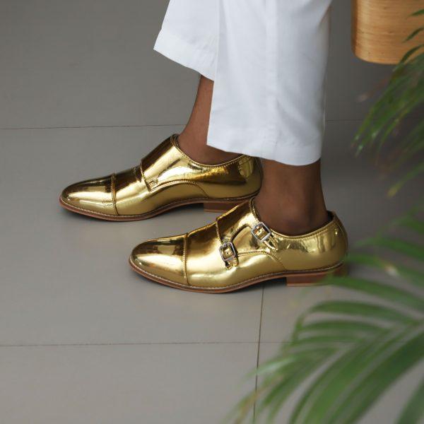 golden Shoes monk strap