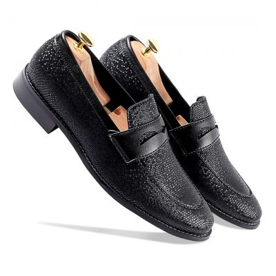 Shiny black loafers shoes for men