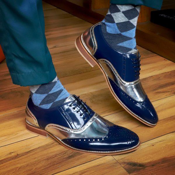 Silver formal shoes for men