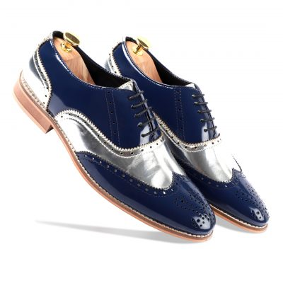 Silver-blue brogues shoes for men