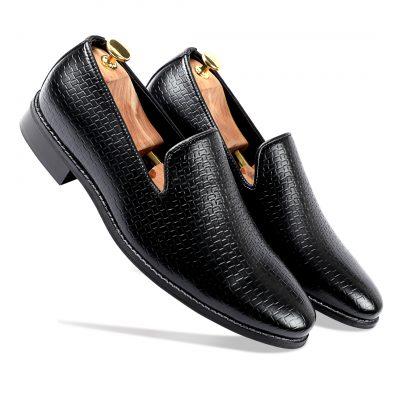 Shiny Black Loafer shoes for men