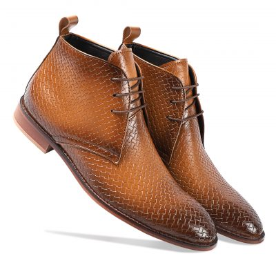 Shaded brown lace-up boots for men