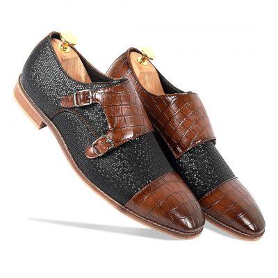 Rio Rabbit Brown-black Monk Strap shoes