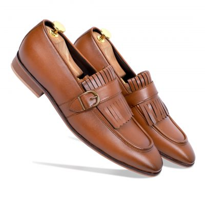 Brown Monk strap loafer shoes
